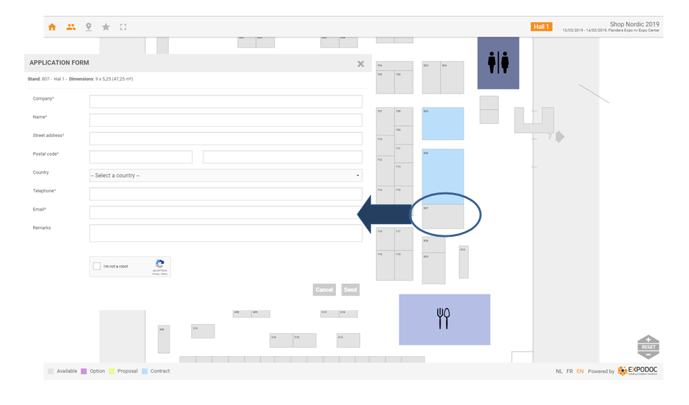 Manage online stand reservation and obtain up-to-date sales information with the online Floor Plan of Expodoc.